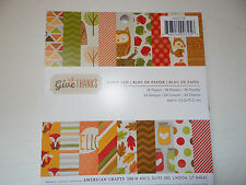 GIVE THANKS PAPER PAD 6X6 PATTERNED SCRAPBOOK CARDS AUTUMN THANKSGIVING OWLS