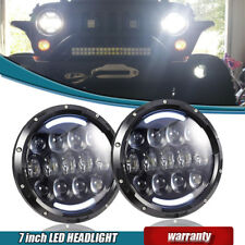 "LED HALO Hi/L& Headlights Turn Amber Crystal H4 7""For Mazda Miata MX5 MX-5 91-97"