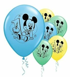 """6 pc 12"""" Mickey Mouse Happy 1st Birthday Party Decoration Latex Balloons Baby"""