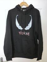 Venom Face Black Hoodie Tom Hardy Supervillian Marvel Comics Top Size XL NEW