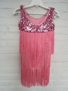 Curtain Call CLA Fringe Sequined Dance Skating Dress Costume Flapper Girls