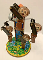 Vintage Tin Litho Monkey Ferris Wheel Wind Up Toy Works Signed Yone Japan