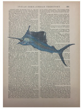 Blue Marlin Fish Art Printed On Antique Encyclopedia Page Vintage Decor