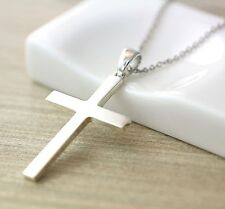 Sterling Silver Simple Cross Pendant Necklace Women Classic Jewelry Gift Idea