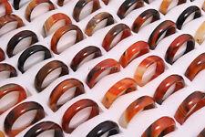 Wholesale Lots Mixed 50pcs Glossy Natural Agate Gemstone Rings FREE Shipping New
