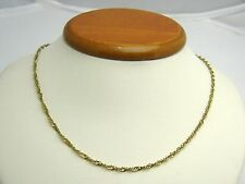 """10K Yellow Gold 16"""" DIAMOND CUT SINGAPORE CHAIN NECKLACE SPRING LOCK CLASP N150L"""