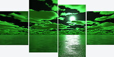 """20"""" High X 40""""+ Long Sea Green Black Canvas Pictures 4 Piece Mul;ti Panel Sets"""
