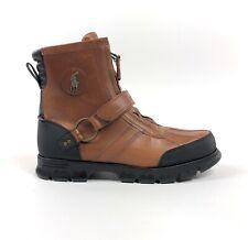 Polo Ralph Lauren Conquest Hi III Mens Size 13 Leather Zip Brown Duck Boots