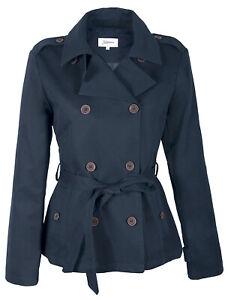 Damen Trenchcoat Trench Jacke Mantel kurz Zweireiher Baumwolle Übergang blau