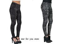 Hue Womens python OR Crocodile Print Grey Black Cotton Leggings S, L, XL