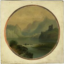 DOLBADARN CASTLE AND LAKE LLANBERIS & ORIGINAL 19TH. CENTURY WATERCOLOR PAYNTING