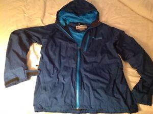 Columbia Jacket Mens L TIITANIUM BLUE ZIPPERED RAIN JACKET