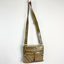 BRIGHTON Twister Go Go Crossbody Bag Taupe Nylon Patent Leather Messenger