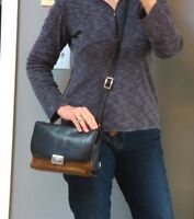 BRIGHTON Black Brown Leather Crossbody Handbag Purse Shoulder Biker Distressed