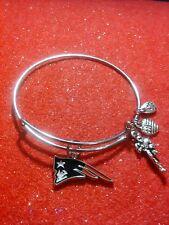 New England Patriots NFL Logo Silver Toned Expandable Wire  Bangle Bracelet