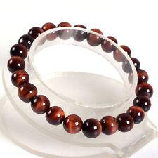 "10mm Fashion  Red tiger eye round gemstone beads stretchable bracelet 7.5"""