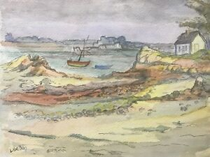 LOUIS BELLON (1908-1998) SIGNED FRENCH IMPRESSIONIST PAINTING - RIVER ESTUARY