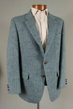 Harris Tweed 40L Mens Blue Herringbone Wool 2 Btn Blazer Sport Coat Jacket 274