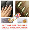 MIRROR POWDER CHROME GOLD EFFECT NAILS PIGMENT TREND 2016 SILVER DUST SHINE UK
