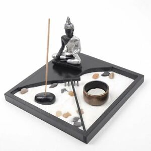 Zs- Giardino Zen  Buddha Meditazione Portacandela Bruciatore per Incenso Decoraz