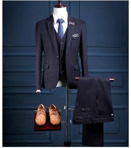 Men Classic Dark Blue Stripe Herringbone Tuxedos Dinner Party Casual Suit Custom