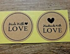 30/50/150/250 Kraft Paper 'Hand Made with Love' Paper Label Sticker Seal Favor