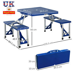 UK Picnic Table Garden Foldable Portable BBQ 4 Chair Stool Camping Party