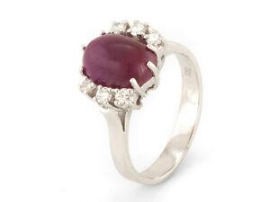 Ring  mit Rubin und Brillant 585/14k Weißgold  Ringgröße 54     (21410)