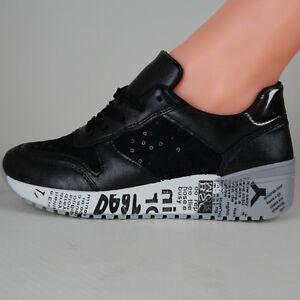 Scarpe Sneakers da Donna Nere sportive da ginnastica Zeppa eleganti con Pizzo