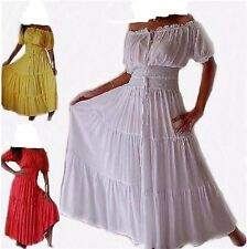 STYLISH  Maxi  Dress 100% Cotton Short Sleeves Cowgirl Mexican Tribal Plus Size