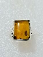 Chunky Natural Real Baltic Amber Ring 925 Solid Sterling Silver Size N~N1/2