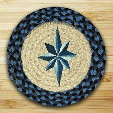 """Blue Eight Point Star 100% Natural Braided Jute Swatch, 10"""" Trivet/Placemat"""