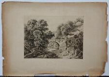 Antique Blery Landscape Aquatint Print