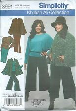 S 3991 sewing pattern Khaliah Ali CAPE Knit TOP GAUCHOS SKIRT sew sizes 18W-24W