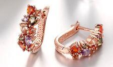 NWOT Mona Lisa 18K Rose Gold Plated & Swarovski Crystal Latchback Earrings