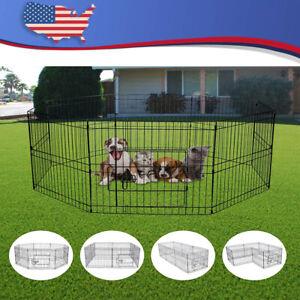 """24"""" Pet Dog Playpen Exercise Fence Cage Kennel w/ Door 8 Panel Outdoor Indoor"""