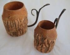 Pair Wooden Mugs w/ Iron Handles + Bark Folk Art