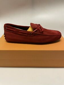 TOD'S New Gommini Red Suede Driving Shoes Loafers Size 8 US / 7 UK