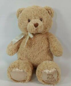 Baby Gund My First Teddy Bear Tan Plush Stuffed Bear Sewn Eyes Nose