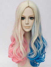 HOT Long Curly Blonde Pink Blue Mixed Harley Quinn Lace Front Synthetic Wig