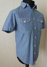Ben Sherman Short Sleeve Western Style Blue Pin Striped Shirt ~ Small