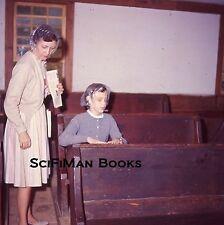 EKTACHROME 35mm Slide Pretty Sexy Woman Sweaters Church Pews Scarf Fashion 1964!