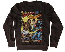 COOL MUHAMMAD ALI SUPERMAN BOXING FUNNY BLACK UNISEX SWEATSHIRT