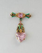 Vintage Czech Pink Enamel Dangle Pin Brooch Art  Deco Fantastic #124