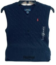 Brand New Polo Ralph Lauren Navy Blue Boys V Neck Sweater Size 8