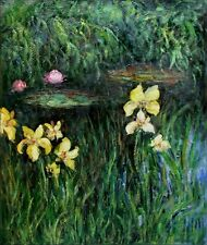 Claude Monet's Yellow Irises Repro, Hand Painted Oil Painting 20x24in