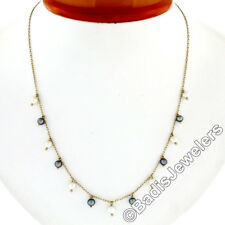 """Vintage 14K Yellow Gold 17"""" White & Gray Pearl Dangle Cable Link Chain Necklace"""