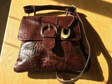 Leather Croc Print Magnetic Snap Messenger Cross Body Women's Handbags