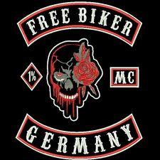 XXL BACK-PATCH Rücken Aufnäher Free Biker, Germany, Totenkopf Rose, MC, 1% 5-TLG
