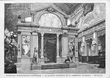 """AMSTERDAM """" LE PAVILLON D' HONNEUR DE LA FRANCE """" GRAVURE ENGRAVING 1883"""
